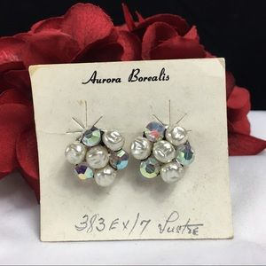 Vintage Jewelry - Vintage Aurora Borealis & Pearl Cluster Earrings